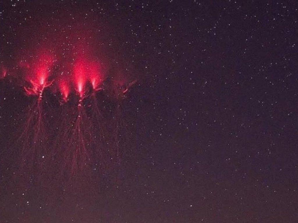 luces en el cielo de Oaxaca